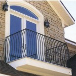 Bowed Belly Picket Black Iron Exterior Balcony Railing
