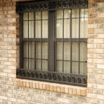 Dark Brown Window Bars With Greek Key Borders