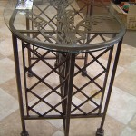 Glass Top Table With Leaf & Lattice Detail