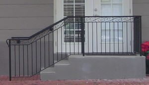 Straight Picket Railing With Scroll Top Border
