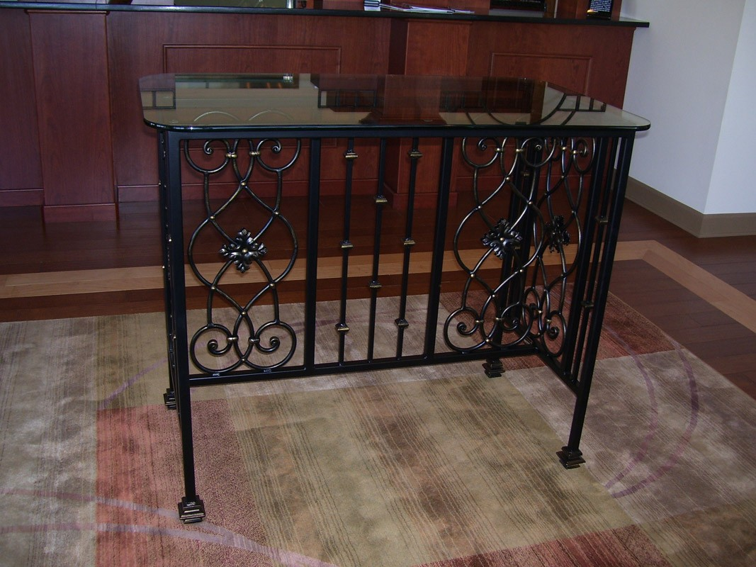 Forged Iron Panel Entry Table With Glass Top